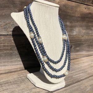Blue & White long faux pearl necklace